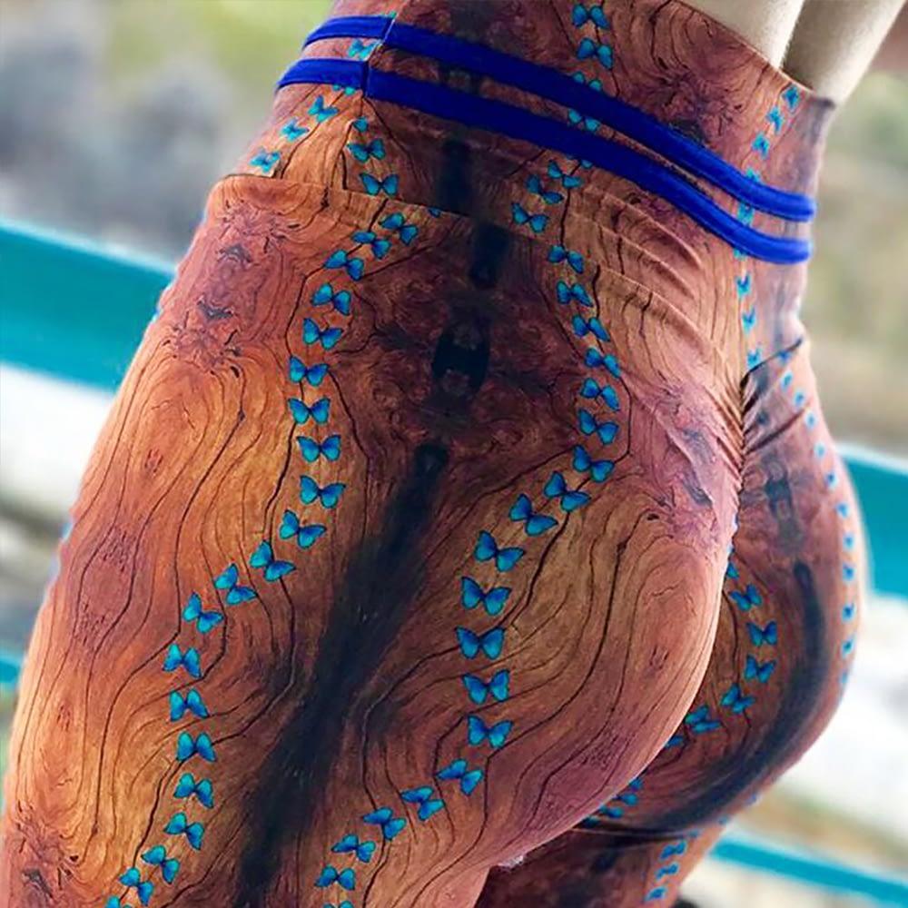 New High Waist Drawstring Women'a Leggings, Tree Bark Print Bottom Wrinkles Push Up Leggings, Sporting Elastic Legging 6