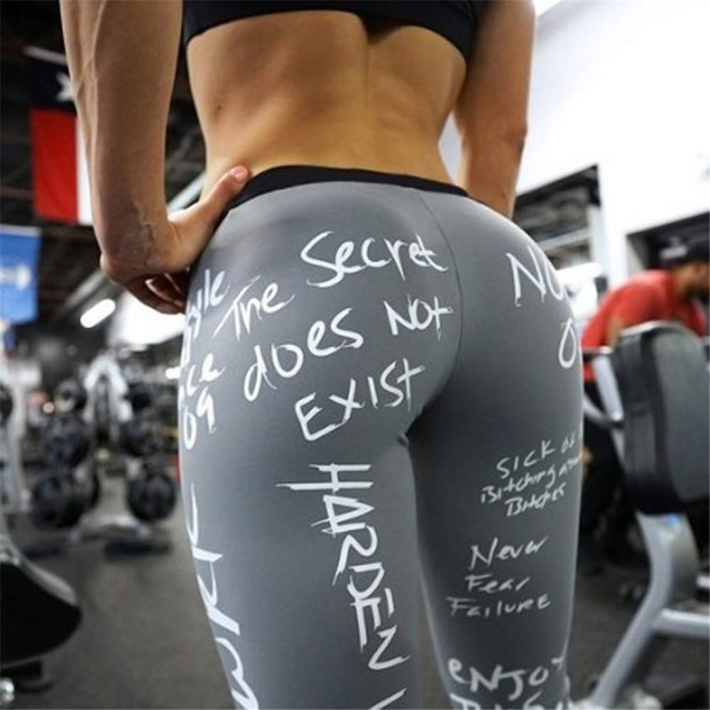 Women's Leggings, Push Up Hip, Fitness Letter Print Sporting Workout Athletic Leggings, Elastic High Waist Pants 8