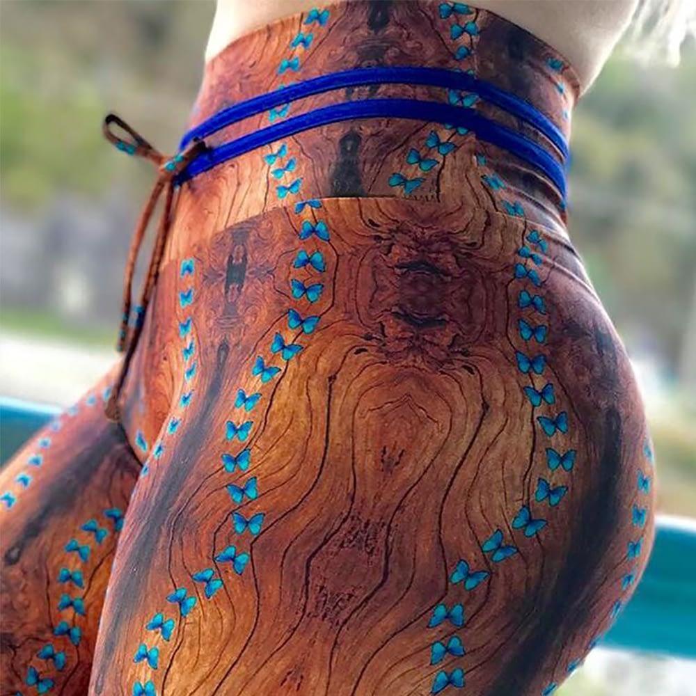 New High Waist Drawstring Women'a Leggings, Tree Bark Print Bottom Wrinkles Push Up Leggings, Sporting Elastic Legging 5