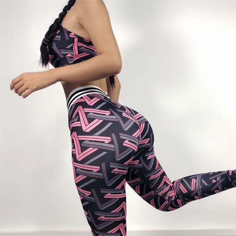 Women Yoga Fitness Sports Sets Colorful Gym Workout Sportswear 2pcs/Set Tracksuits Bra + Printed Yoga Pants Sport Leggings Suits 9