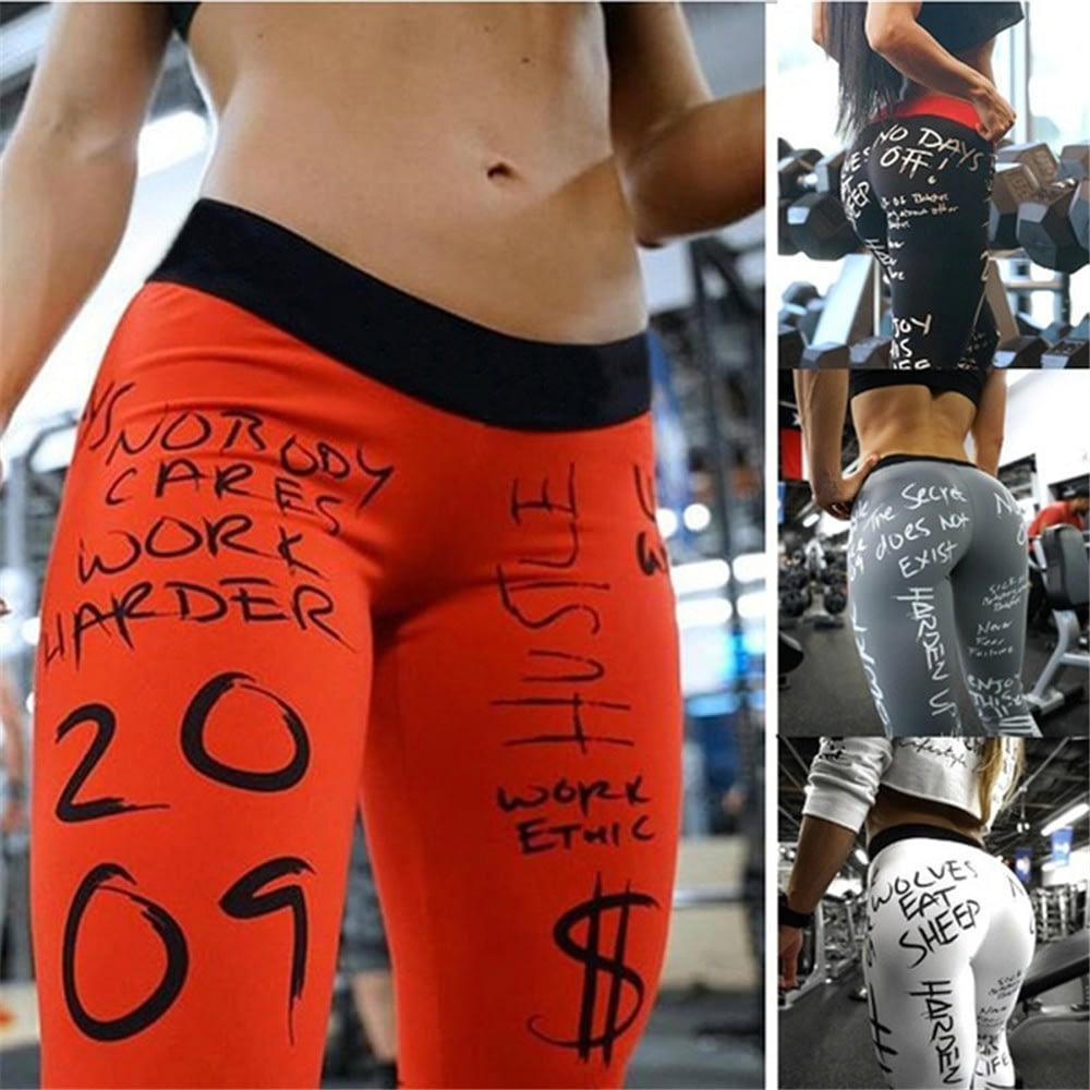 Women's Leggings, Push Up Hip, Fitness Letter Print Sporting Workout Athletic Leggings, Elastic High Waist Pants 6