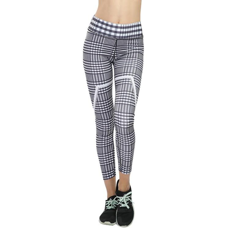 New Plaid V Digital Printing Leggings, Hip Elastic Waist, Hip Elastic High Waist Legging Breathable Pants 8