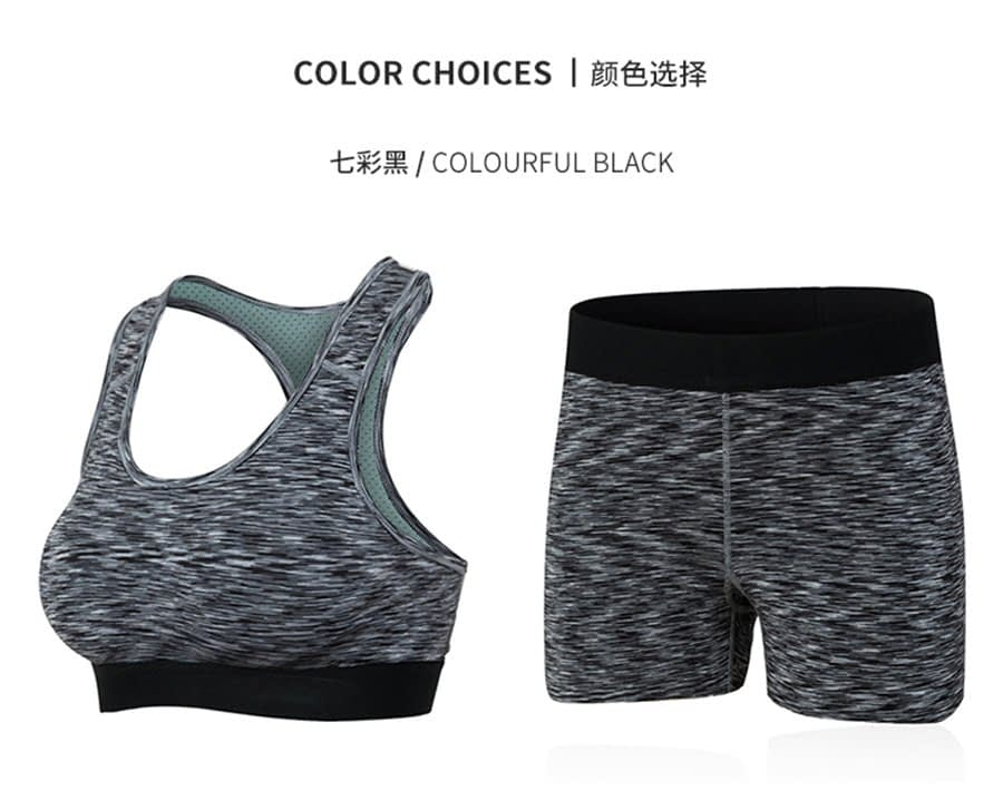 Women's Yoga Sets for Gym Running Yoga T-Shirt Tops Sports Bra Vest Fitness Shorts Workout Sports Suit Set 17