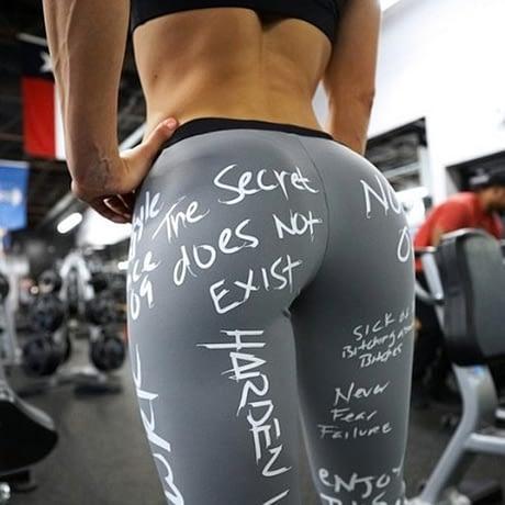 Women's Leggings, Push Up Hip, Fitness Letter Print Sporting Workout Athletic Leggings, Elastic High Waist Pants 3