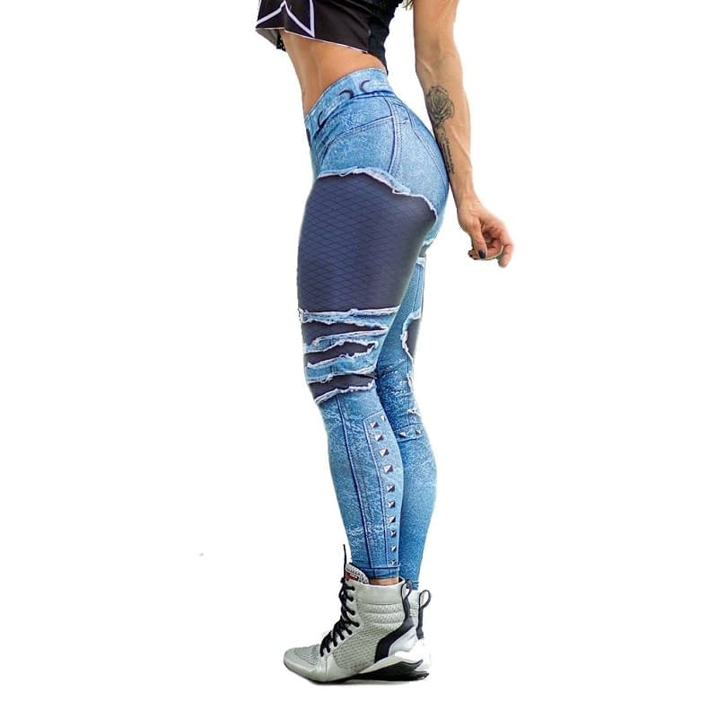 New Fashion Women's Jeans Print Leggings, Sporting Leggings 3D Elastic Pants 4