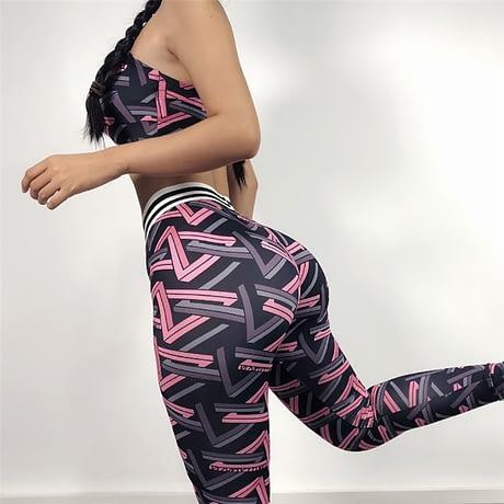 Women Yoga Fitness Sports Sets Colorful Gym Workout Sportswear 2pcs/Set Tracksuits Bra + Printed Yoga Pants Sport Leggings Suits