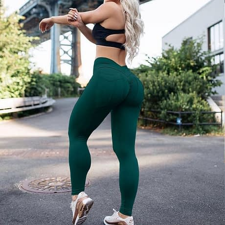 New Women's High Waist Leggings, Push Up Workout Leggings, Solid Pocket Leggings 2