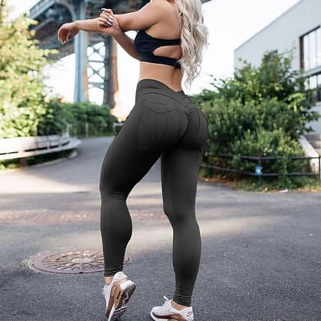 New Women's High Waist Leggings, Push Up Workout Leggings, Solid Pocket Leggings 3