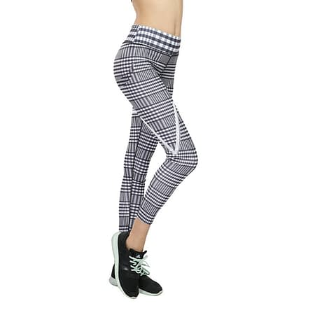 New Plaid V Digital Printing Leggings, Hip Elastic Waist, Hip Elastic High Waist Legging Breathable  Pants 4