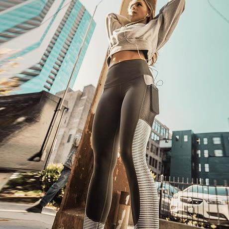 New Harajuku Striped Leggings, Women's Mesh Pocket Legging 4
