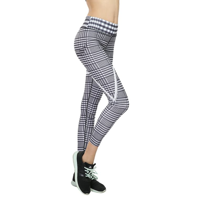 New Plaid V Digital Printing Leggings, Hip Elastic Waist, Hip Elastic High Waist Legging Breathable Pants 9