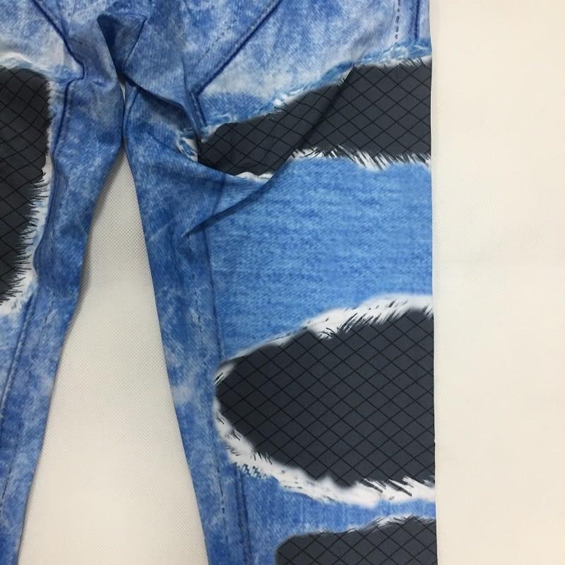 New Fashion Women's Jeans Print Leggings, Sporting Leggings 3D Elastic Pants 8