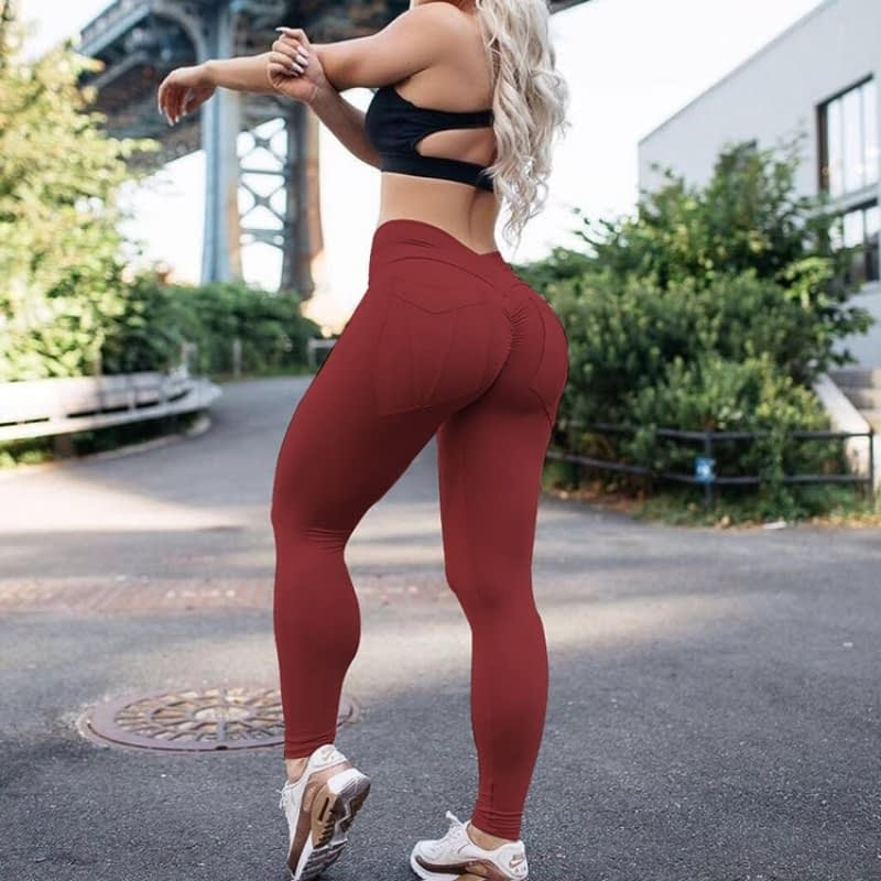 New Women's High Waist Leggings, Push Up Workout Leggings, Solid Pocket Leggings 5