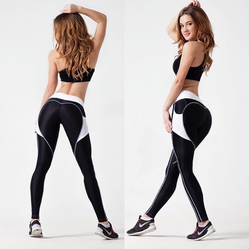 Heart Shape Love Leggings, Women's Sporting High Waist Fitness Leggings With Pocket 28